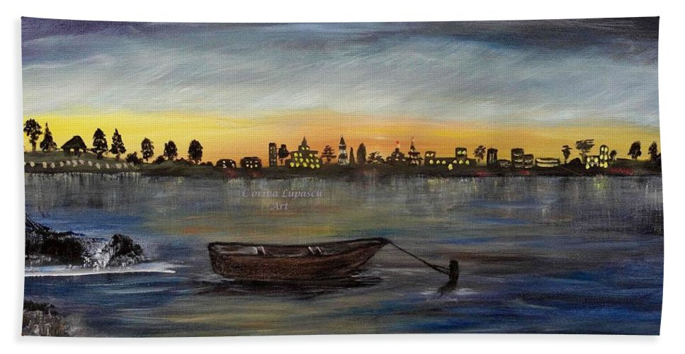 Landscape/seascape Beach Towel featuring the painting Silent Night At Sea by Corina Lupascu