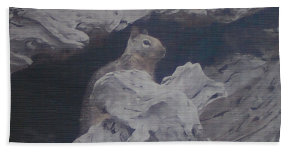 Squirrel Beach Towel featuring the photograph Silent Observer by Pharris Art