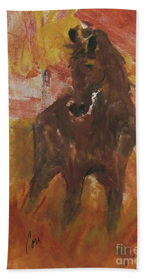 Equine Beach Towel featuring the mixed media Silent Runner by Cori Solomon