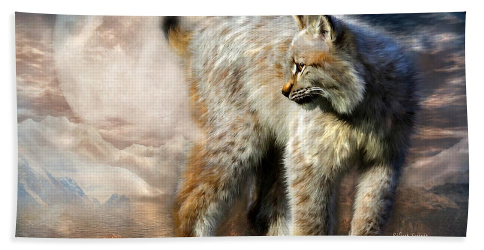 Lynx Beach Towel featuring the mixed media Silent Spirit by Carol Cavalaris
