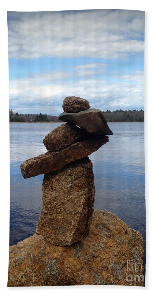 Inukshuk Beach Towel featuring the photograph Silent Watch - Inukshuk On Boulder At Long Lake Hiking Trail by Sylvie Marie