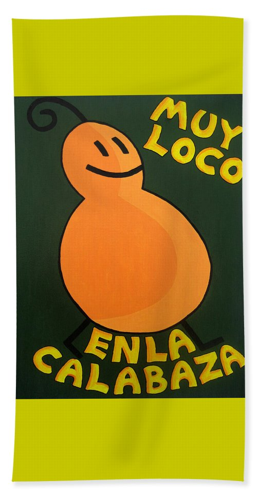Orange Beach Towel featuring the painting Silly Squash by Oliver Johnston