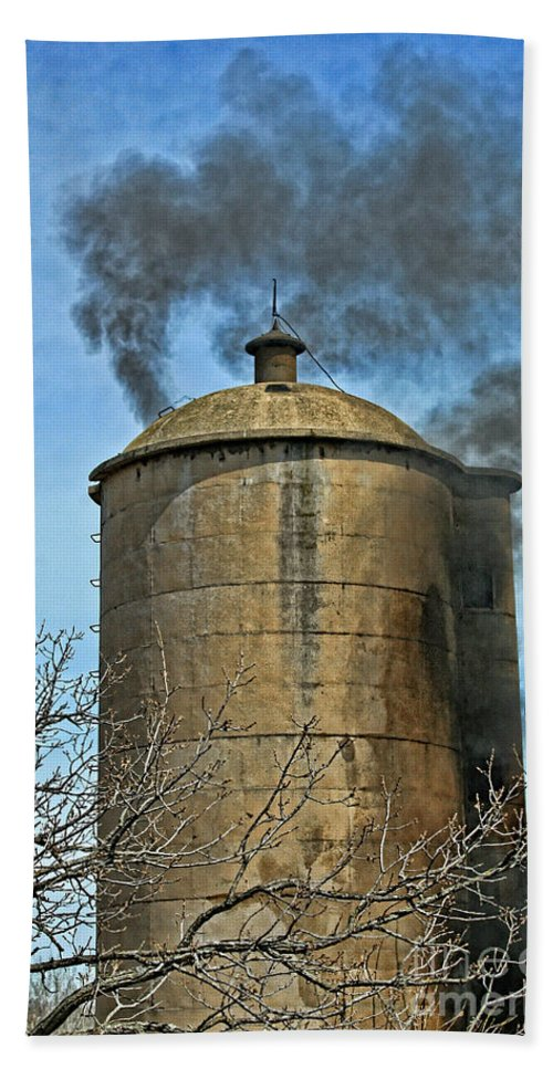 Firefighting Beach Towel featuring the photograph Silo Fire Venting by Tommy Anderson