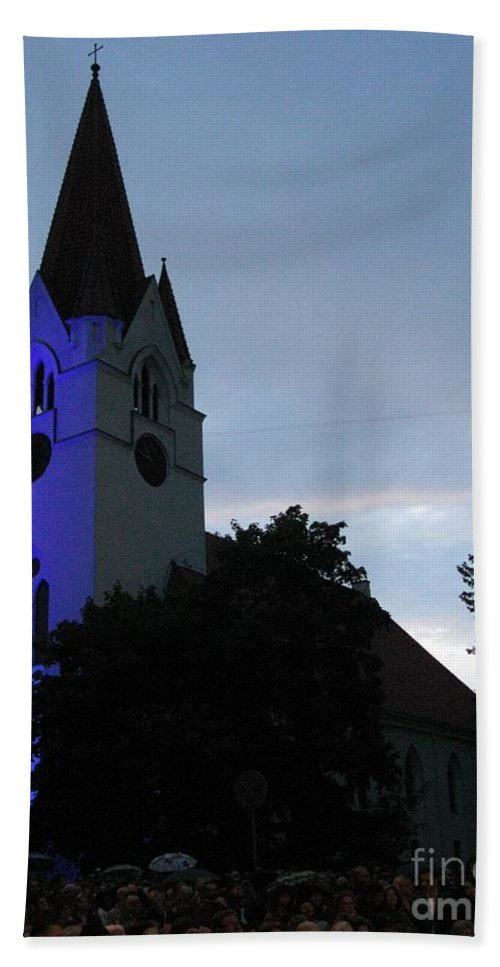 Silute Beach Towel featuring the photograph Silute Lutheran Evangelic Church Lithuania 01 by Ausra Huntington nee Paulauskaite