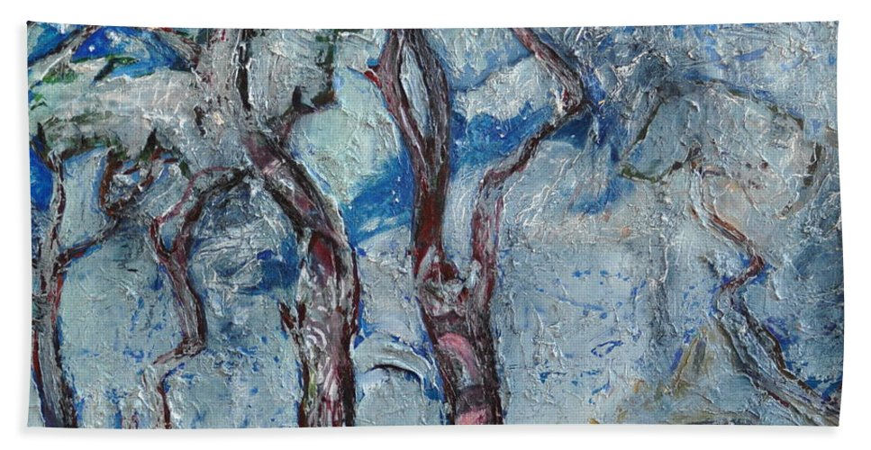 Ignatenko Beach Towel featuring the painting Silver Beach by Sergey Ignatenko