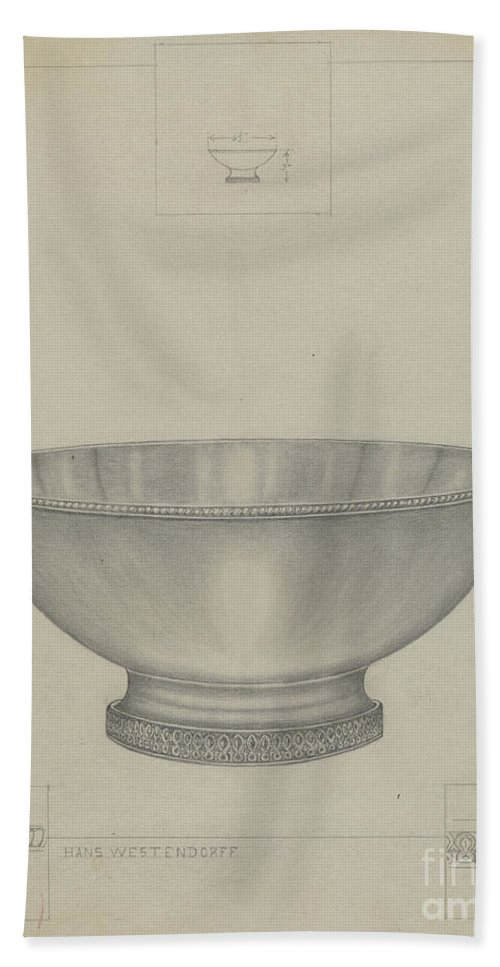 Beach Towel featuring the drawing Silver Bowl by Hans Westendorff