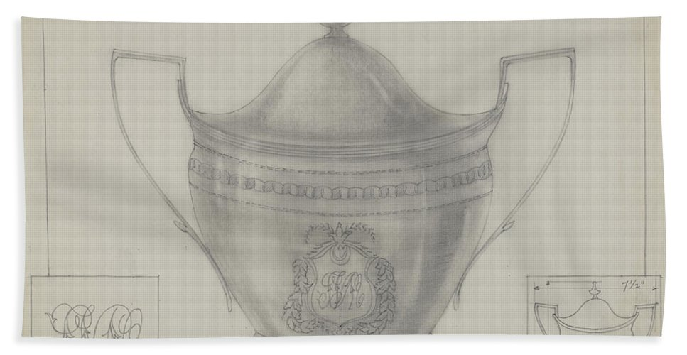 Beach Towel featuring the drawing Silver Bowl by Louis Gersh