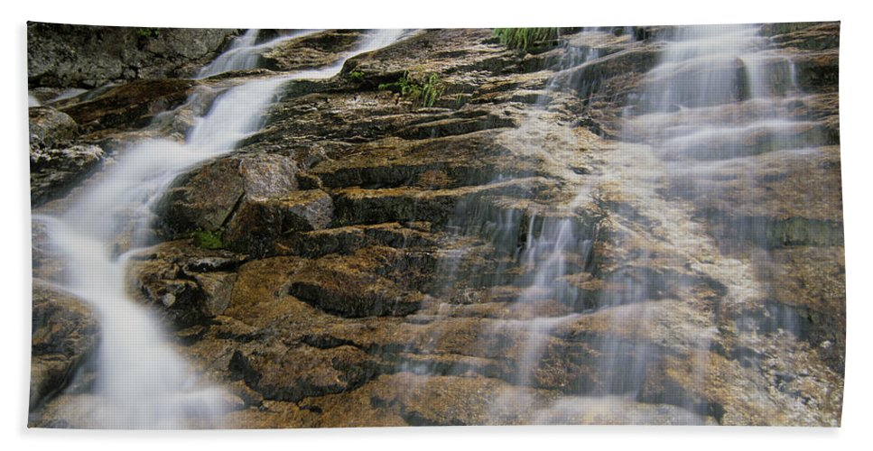 Tourism Beach Sheet featuring the photograph Silver Cascades - Crawford Notch New Hampshire by Erin Paul Donovan