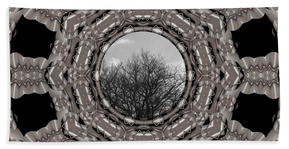 Tree Beach Towel featuring the mixed media Silver Idyl by Pepita Selles