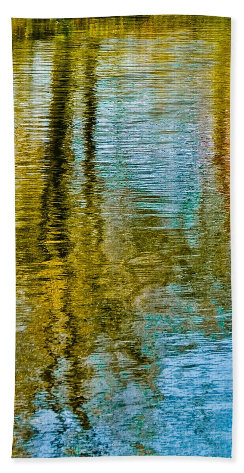 Silver Beach Towel featuring the photograph Silver Lake Autum Tree Reflections by Michael Bessler