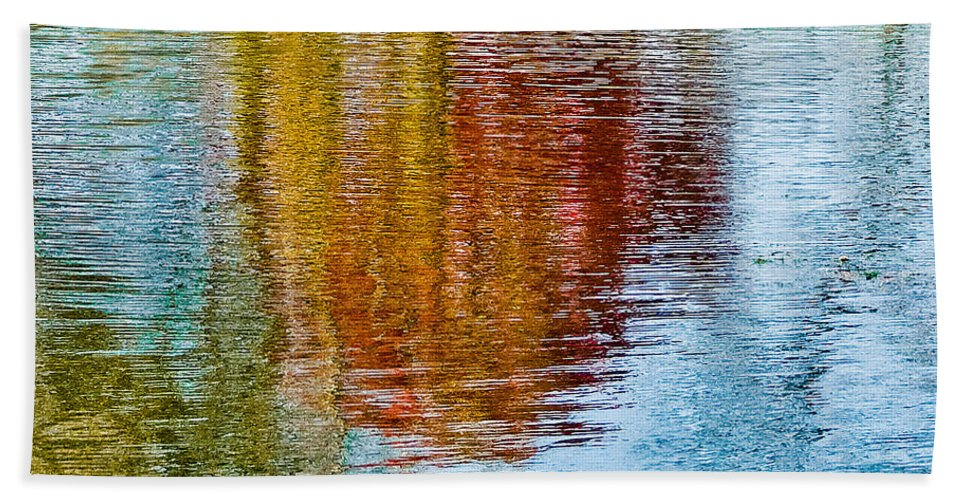Silver Beach Towel featuring the photograph Silver Lake Autumn Reflections by Michael Bessler