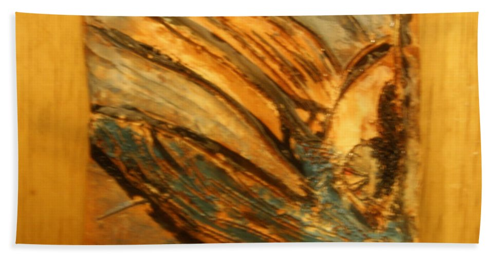Jesus Beach Towel featuring the ceramic art Silver Liberty - Tile by Gloria Ssali