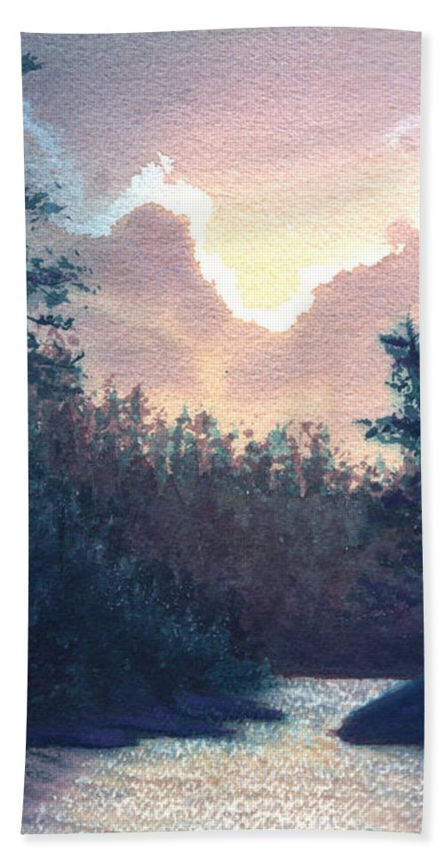 Landscape Beach Towel featuring the painting Silver Lining by Lynn Quinn