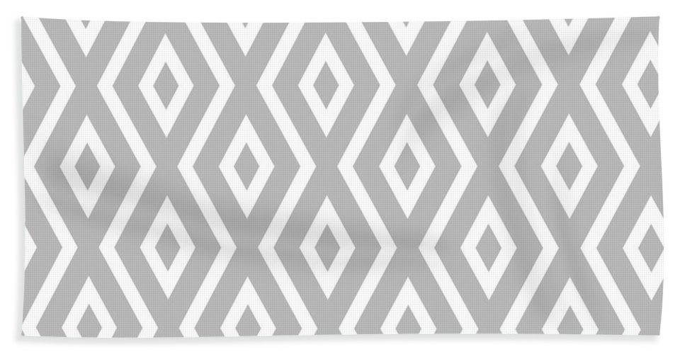 Silver Beach Towel featuring the mixed media Silver Pattern by Christina Rollo