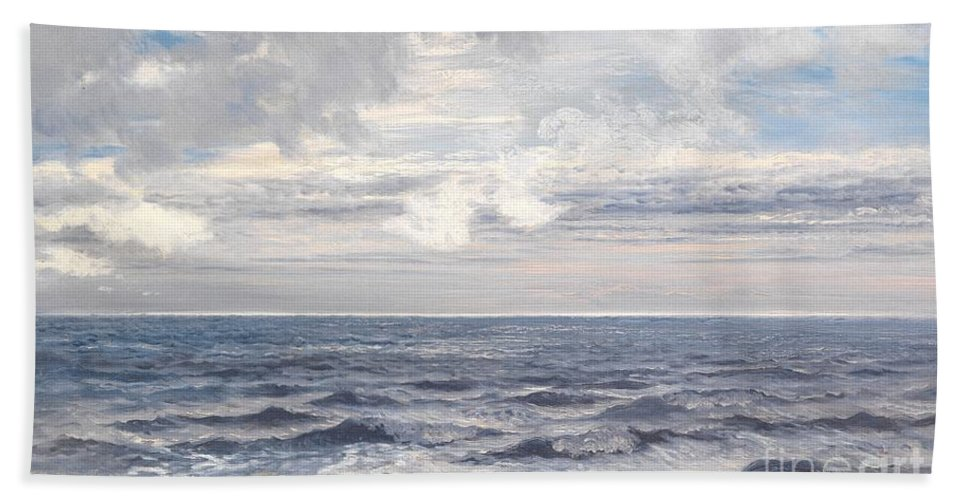 Seascape Beach Towel featuring the painting Silver Sea by Henry Moore