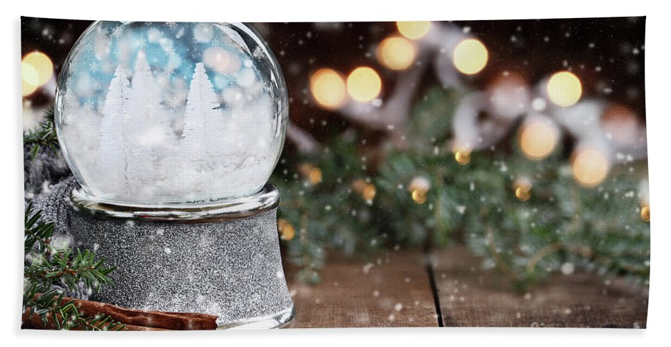 Snowglobe Beach Towel featuring the photograph Silver Snow Globe With White Christmas Trees by Stephanie Frey
