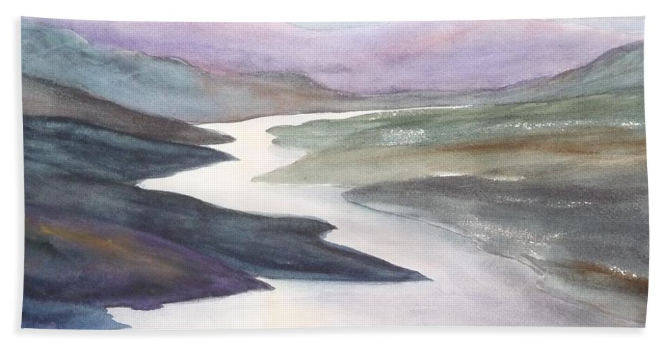 River Beach Towel featuring the painting Silver Stream by Ruth Kamenev