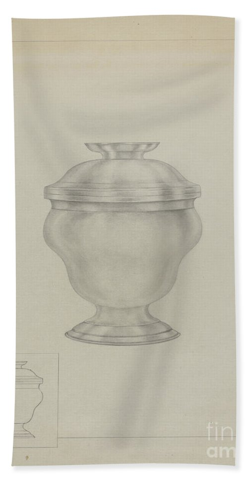 Beach Towel featuring the drawing Silver Sugar Bowl by Isidore Steinberg