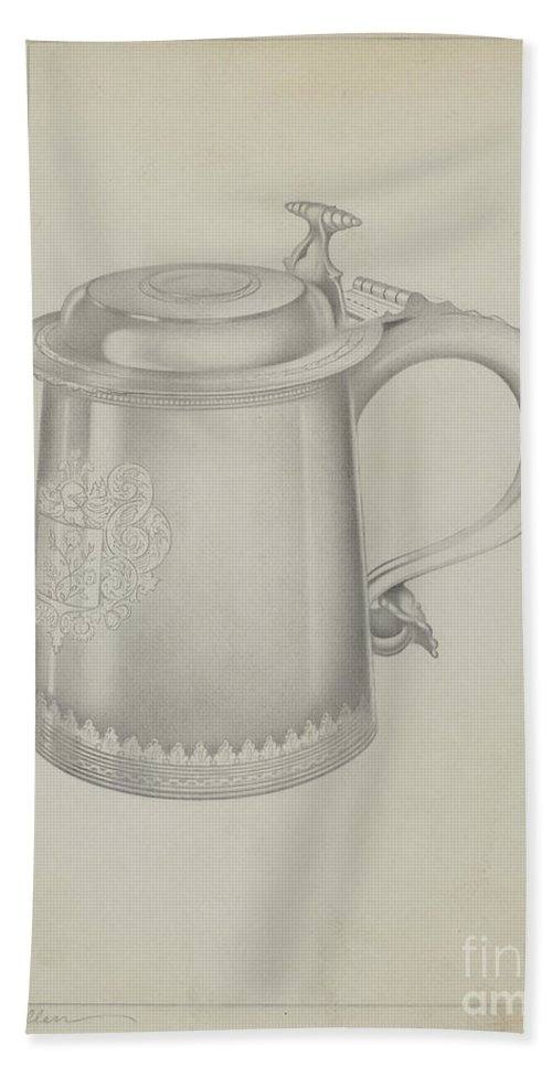 Beach Towel featuring the drawing Silver Tankard by Charles Cullen