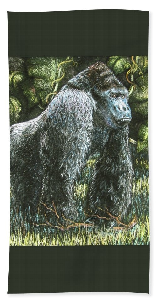 Fuqua - Artwork Beach Towel featuring the drawing Silverback-king Of The Mountain Mist by Beverly Fuqua