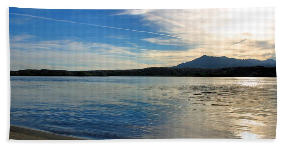 Lake Beach Towel featuring the photograph Silvery Reflection by Kristin Elmquist