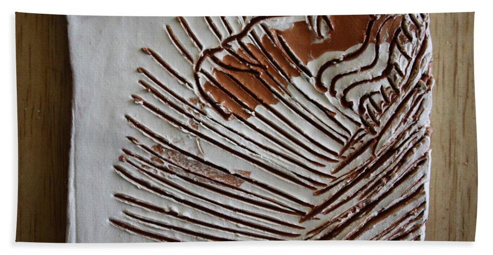 Jesus Beach Towel featuring the ceramic art Simeon - Tile by Gloria Ssali