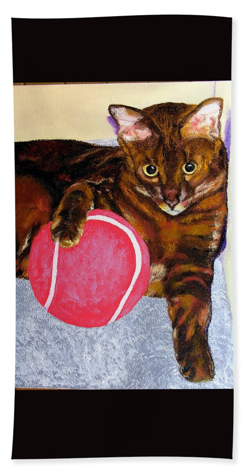 Cat Beach Towel featuring the painting Simon by Stan Hamilton