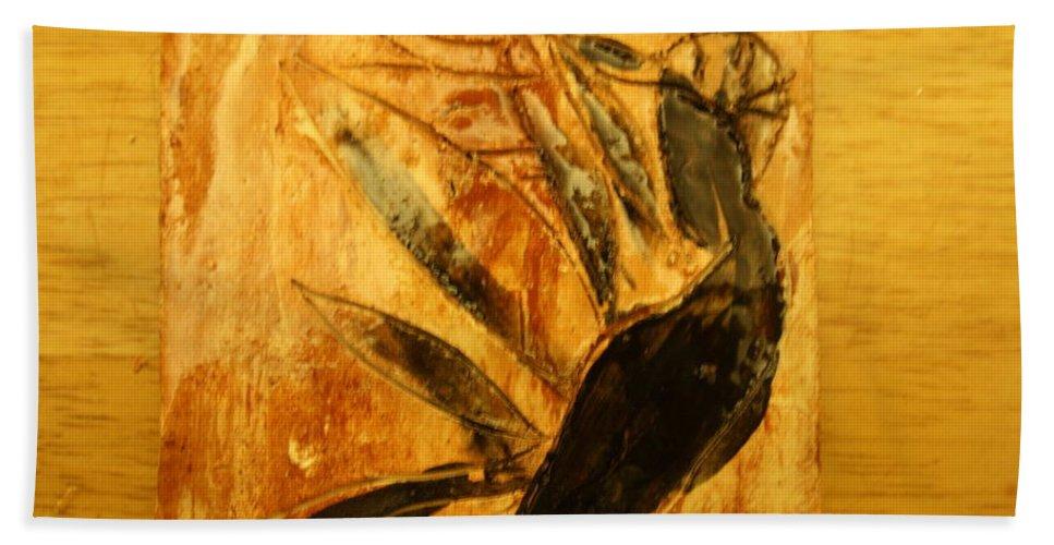 Jesus Beach Towel featuring the ceramic art Simple Joy - Tile by Gloria Ssali