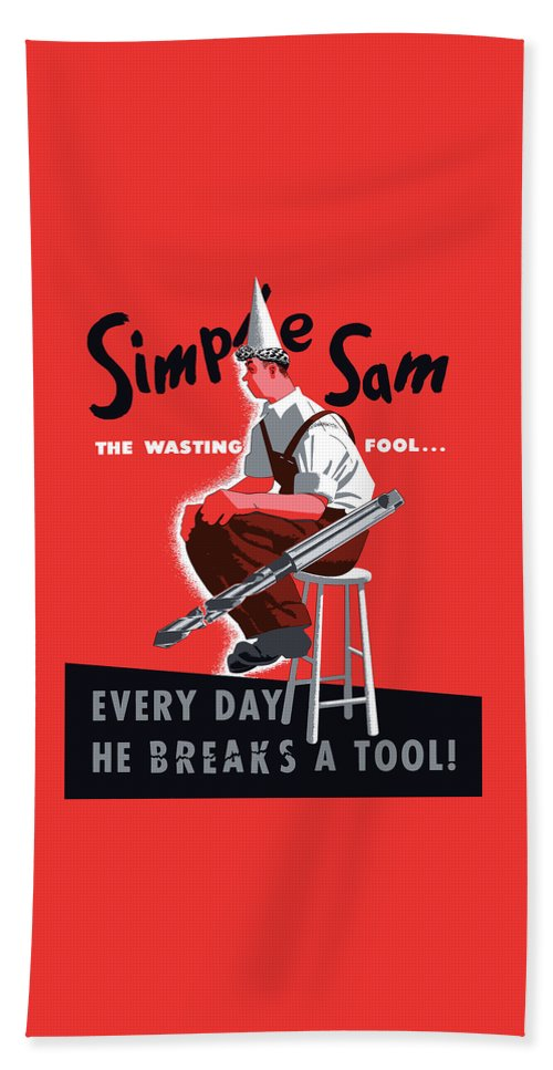 World War Ii Beach Towel featuring the painting Simple Sam The Wasting Fool by War Is Hell Store
