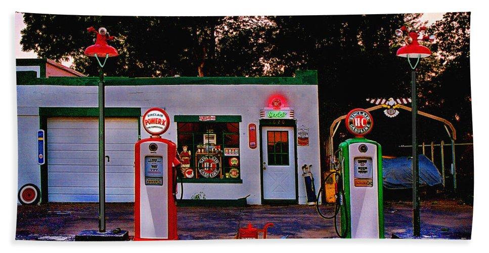 Gas Station Beach Towel featuring the photograph Sinclair by Steve Karol