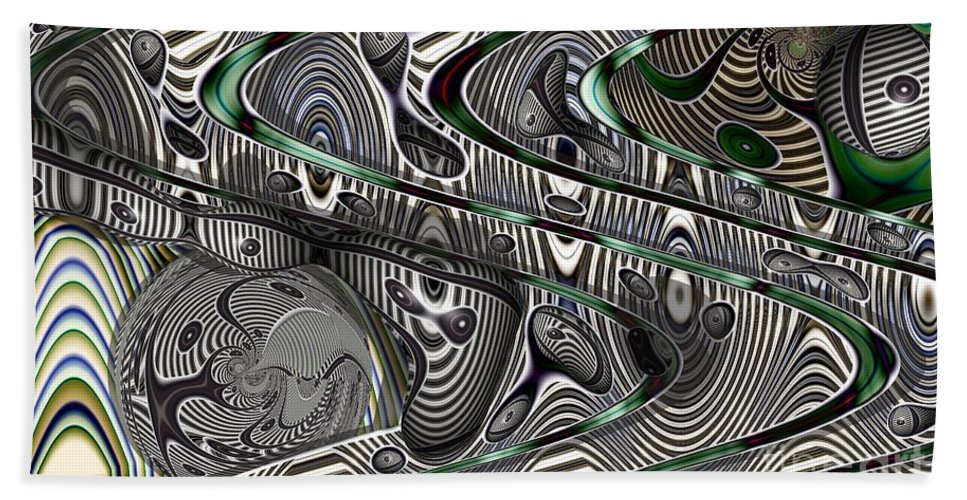 Abstract Beach Towel featuring the digital art Sine Worlds by Ron Bissett