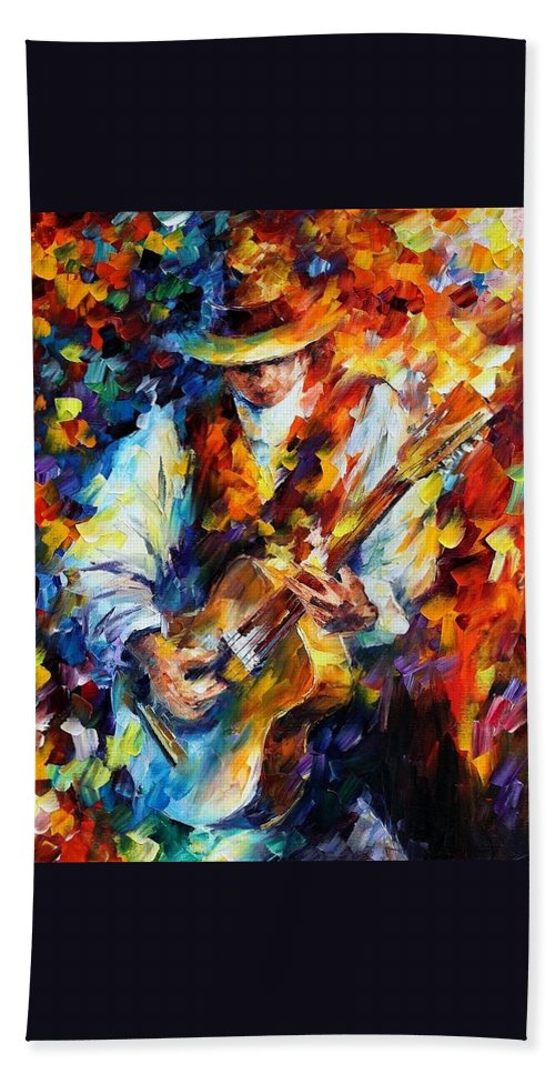 Afremov Beach Towel featuring the painting Sing My Guitar by Leonid Afremov