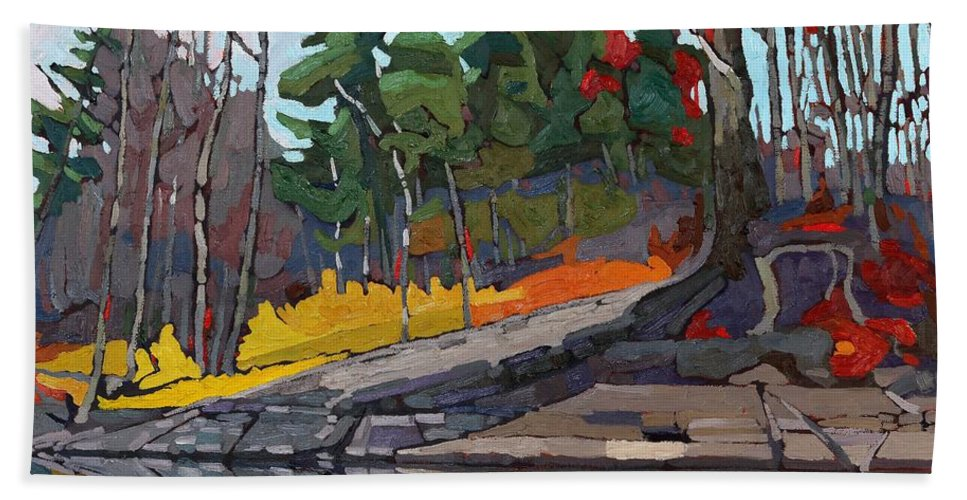 Red Beach Towel featuring the painting Singleton Autumn by Phil Chadwick