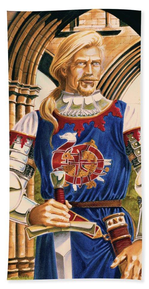 Swords Beach Towel featuring the painting Sir Dinadan by Melissa A Benson