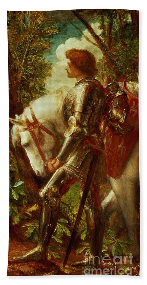Arthur Beach Towel featuring the painting Sir Galahad by George Frederic Watts