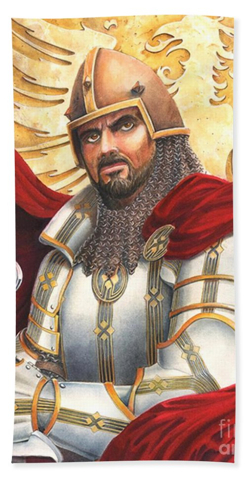 Swords Beach Sheet featuring the drawing Sir Gawain by Melissa A Benson