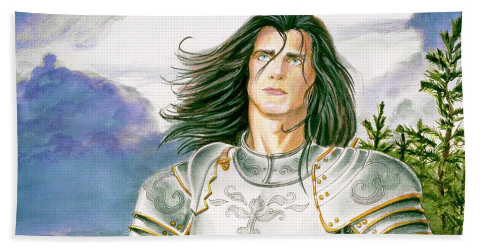 Swords Beach Towel featuring the painting Sir Lancelot by Melissa A Benson