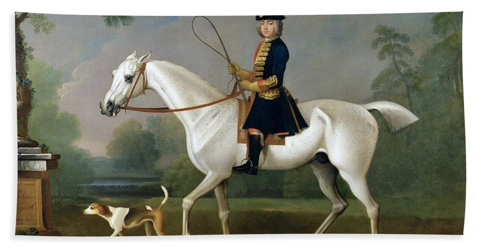 Sir Beach Towel featuring the painting Sir Roger Burgoyne Riding 'badger' by James Seymour