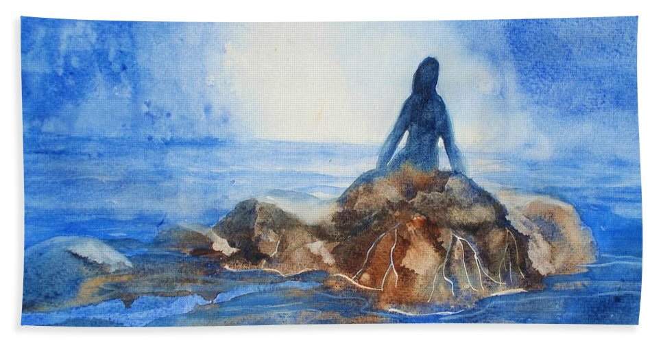 Mermaid Beach Towel featuring the painting Siren Song by Marilyn Jacobson