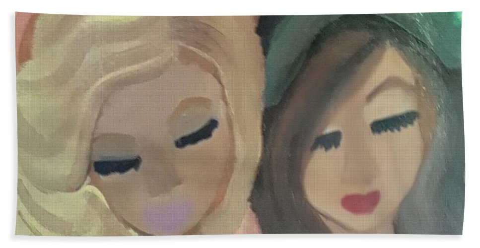 Original Art Fine Canvas Paint Beach Towel featuring the painting Sisters by Amber Sherree