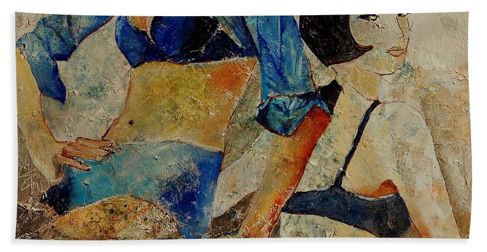 Girl Beach Towel featuring the painting Sisters by Pol Ledent