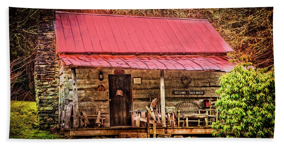 Appalachia Beach Towel featuring the photograph Sit Long Talk Much by Debra and Dave Vanderlaan