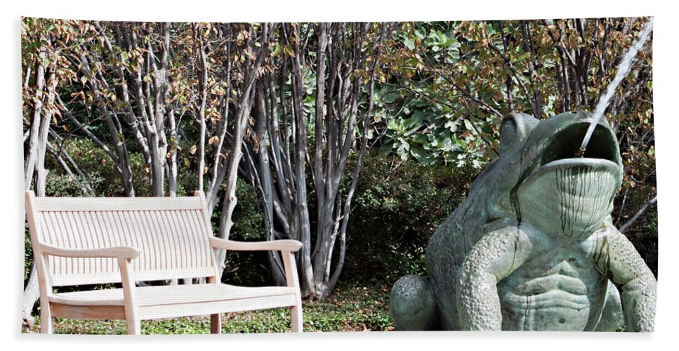 Bench Beach Towel featuring the photograph Sitting And Watching The Frog by Sherry Hallemeier