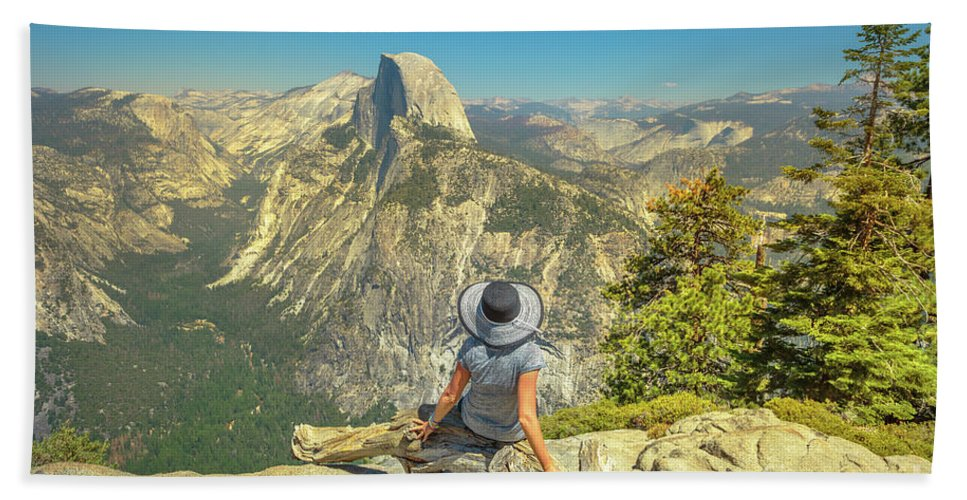 Yosemite Beach Towel featuring the photograph sitting at Glacier Point by Benny Marty