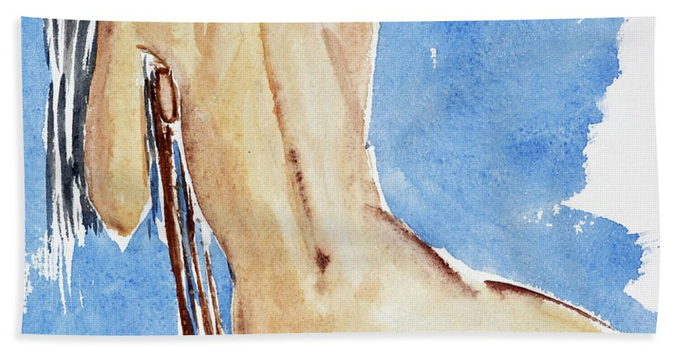 Girl Beach Towel featuring the painting Sitting Girl by Michal Boubin