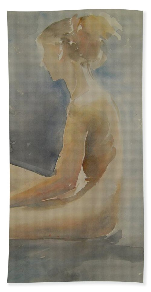 Aquarell Beach Towel featuring the painting Sitting In Air Of Sun by Marica Ohlsson