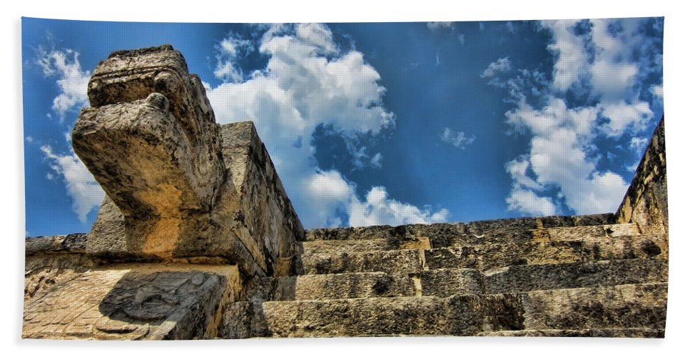 Chichen Itza Beach Towel featuring the photograph Six And A Half Steps From The Top by Douglas Barnard