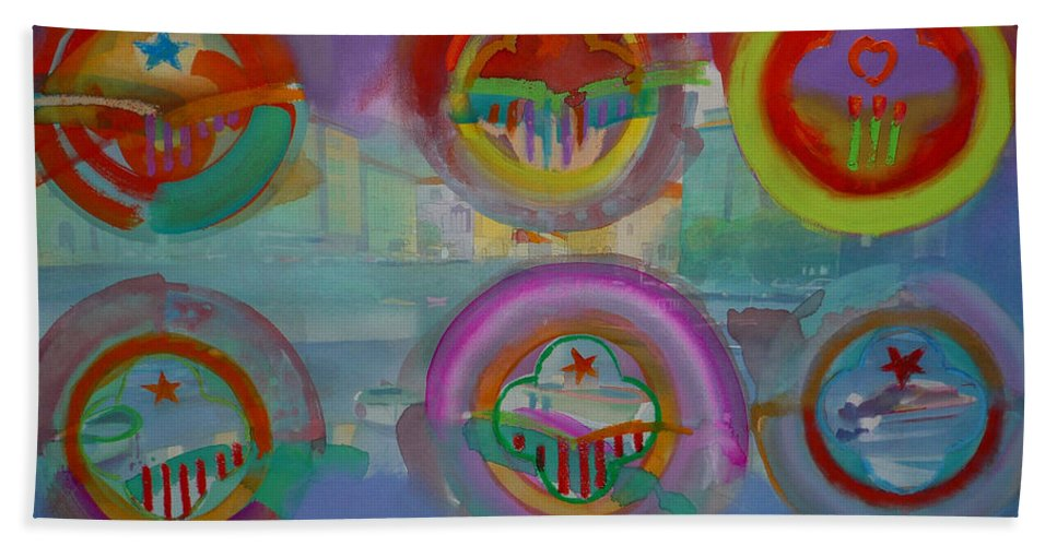 Landscape Beach Towel featuring the painting Six Visions Of Heaven by Charles Stuart