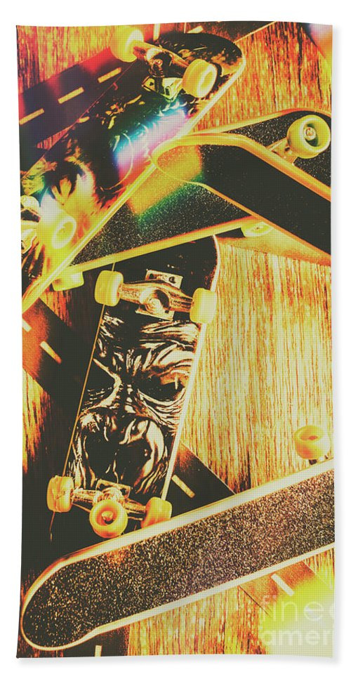 Skateboard Beach Towel featuring the photograph Skateboarding Tricks And Flips by Jorgo Photography - Wall Art Gallery