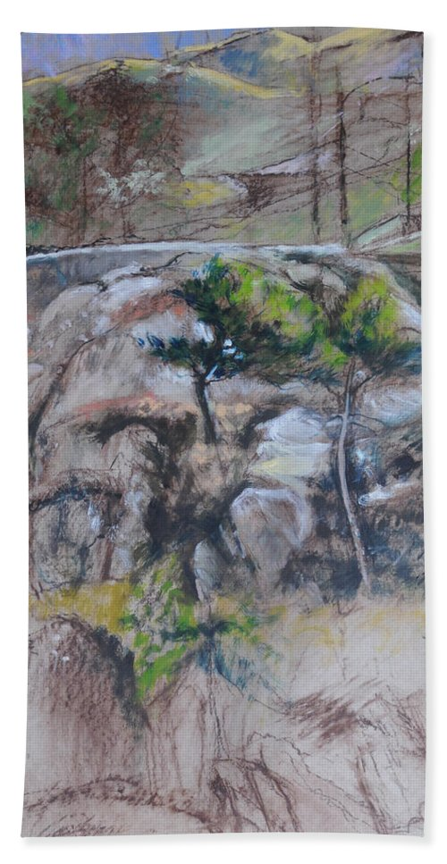 Beach Towel featuring the painting Sketch For Ogwen Painting 2 by Harry Robertson